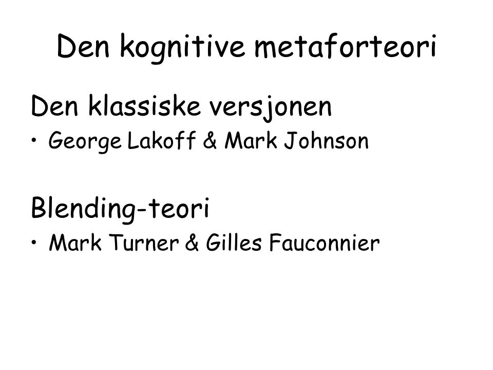 Den kognitive metaforteori