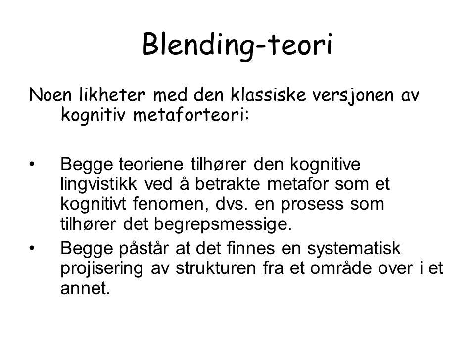 Blending-teori Noen likheter med den klassiske versjonen av kognitiv metaforteori: