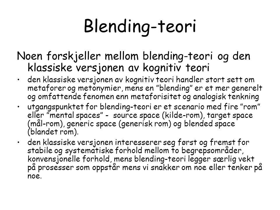 Blending-teori Noen forskjeller mellom blending-teori og den klassiske versjonen av kognitiv teori.