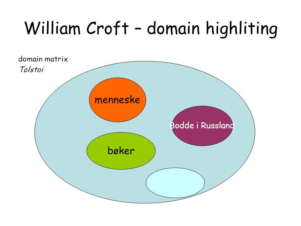 William Croft – domain highliting