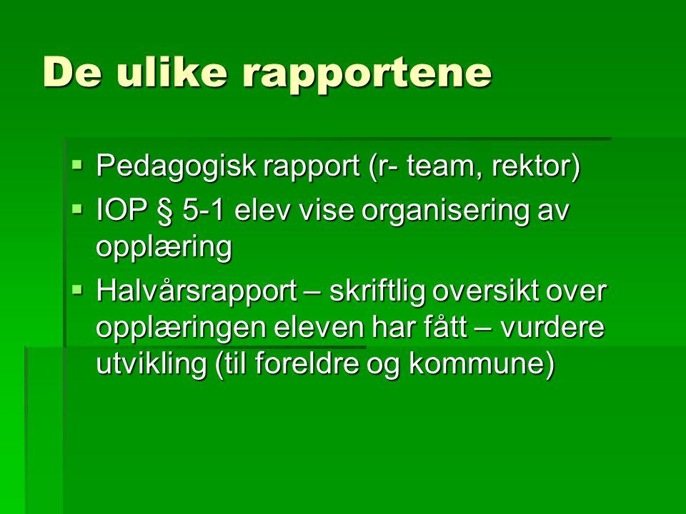 De ulike rapportene Pedagogisk rapport (r- team, rektor)