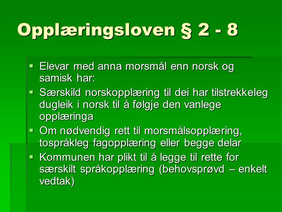 Opplæringsloven § 2 - 8 Elevar med anna morsmål enn norsk og samisk har: