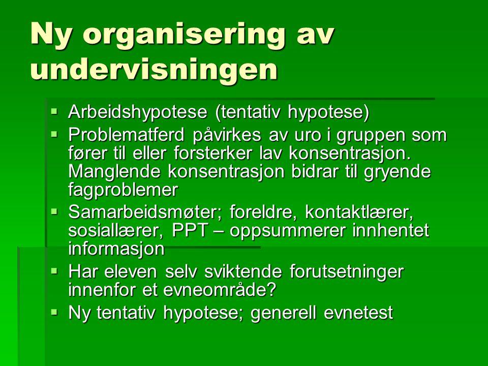 Ny organisering av undervisningen