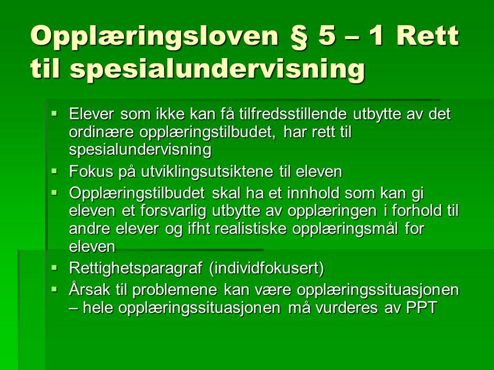 Opplæringsloven § 5 – 1 Rett til spesialundervisning