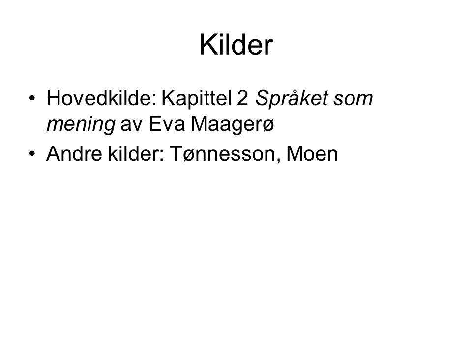 Kilder Hovedkilde: Kapittel 2 Språket som mening av Eva Maagerø