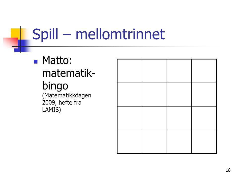 Spill – mellomtrinnet Matto: matematik-bingo (Matematikkdagen 2009, hefte fra LAMIS)