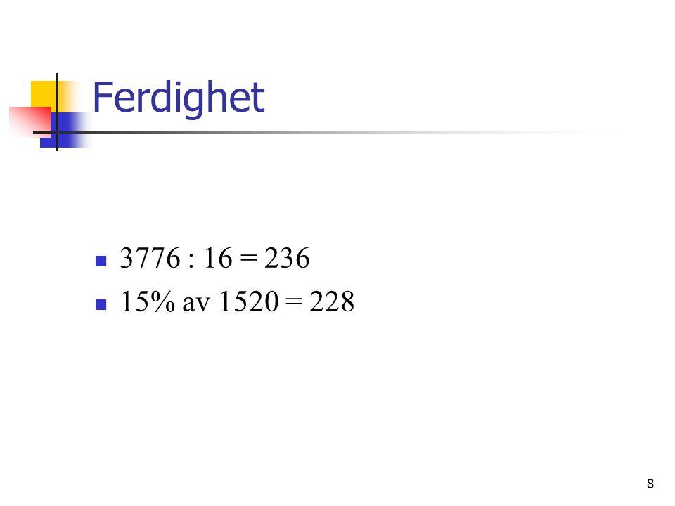 Ferdighet 3776 : 16 = 236. 15% av 1520 = 228.