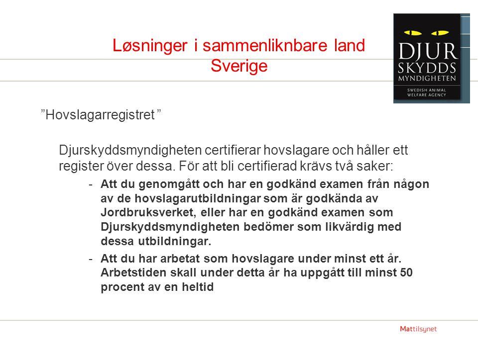 Løsninger i sammenliknbare land Sverige