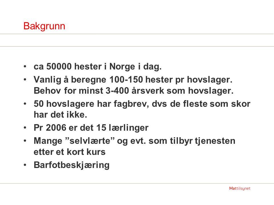 Bakgrunn ca 50000 hester i Norge i dag.