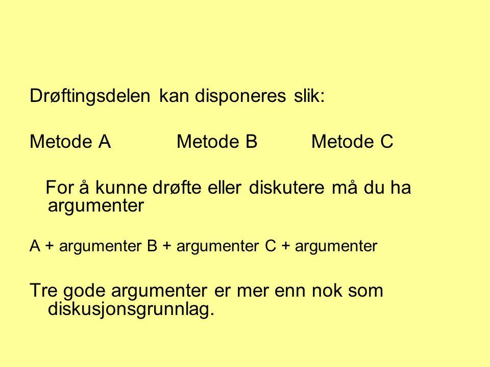 Drøftingsdelen kan disponeres slik: Metode A Metode B Metode C