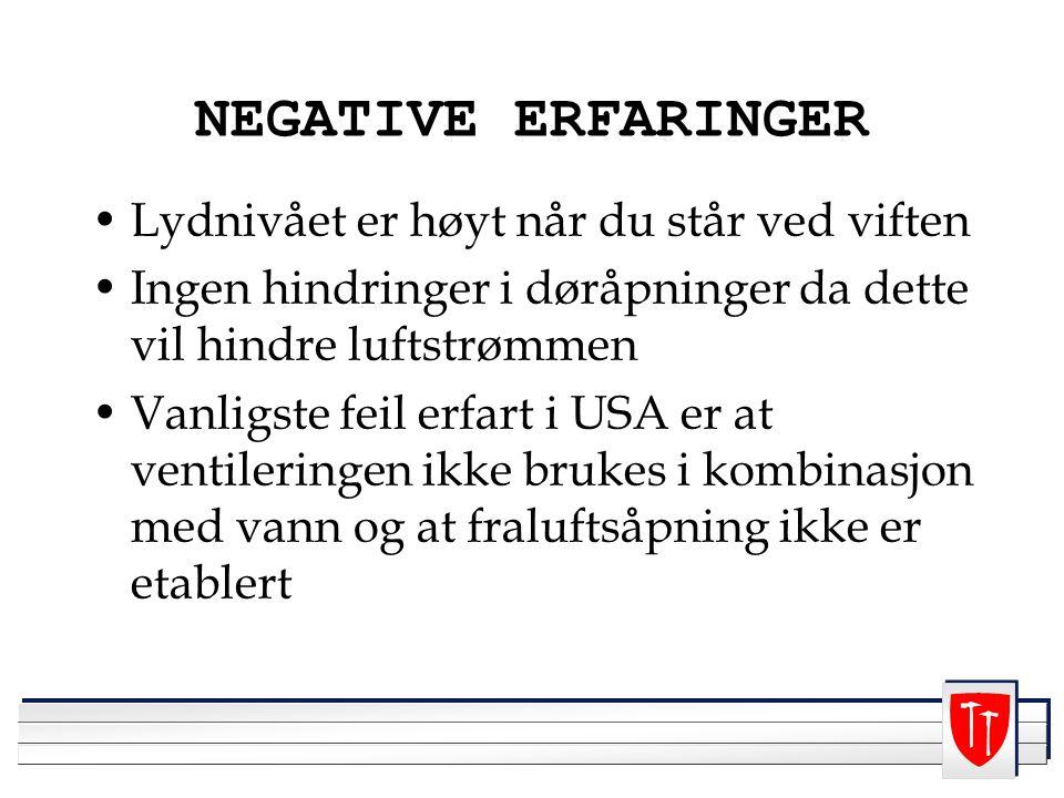 NEGATIVE ERFARINGER Lydnivået er høyt når du står ved viften
