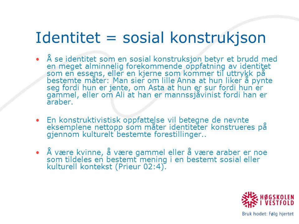 Identitet = sosial konstrukjson