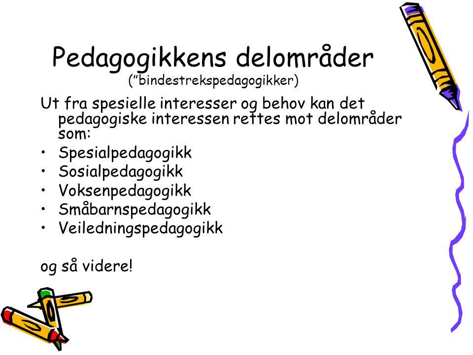 Pedagogikkens delområder ( bindestrekspedagogikker)