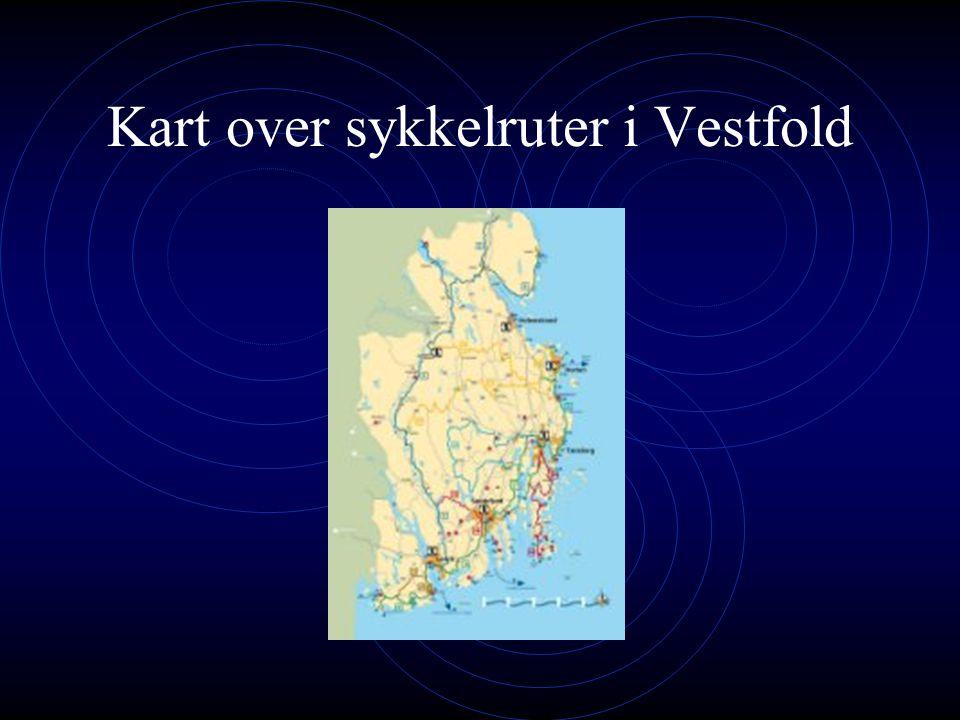 Kart over sykkelruter i Vestfold