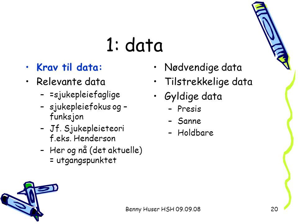 1: data Krav til data: Relevante data Nødvendige data