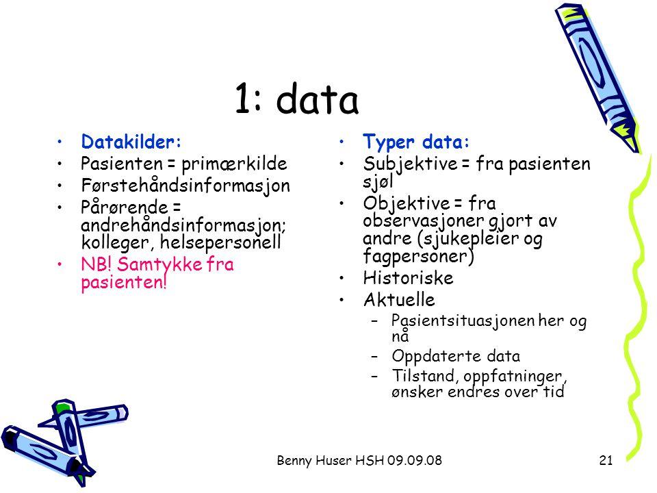 1: data Datakilder: Pasienten = primærkilde Førstehåndsinformasjon