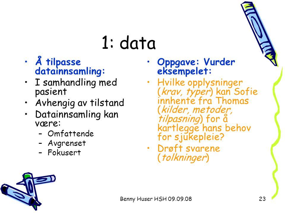 1: data Å tilpasse datainnsamling: I samhandling med pasient