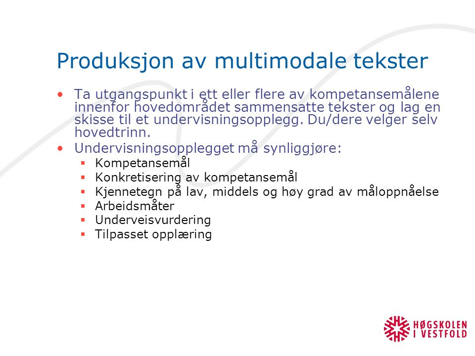 Produksjon av multimodale tekster
