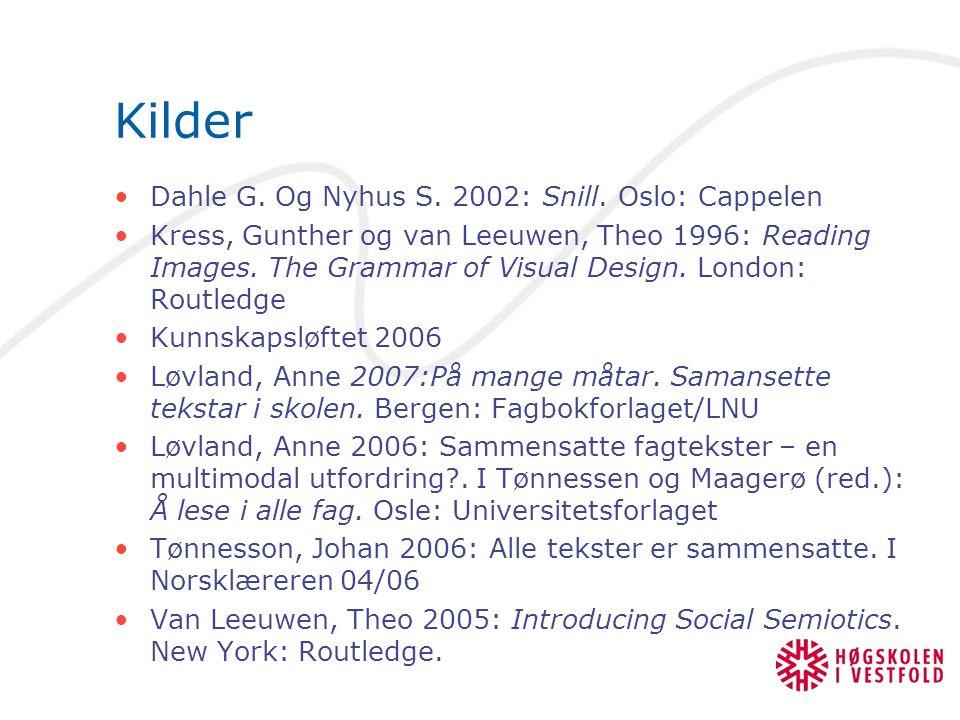 Kilder Dahle G. Og Nyhus S. 2002: Snill. Oslo: Cappelen