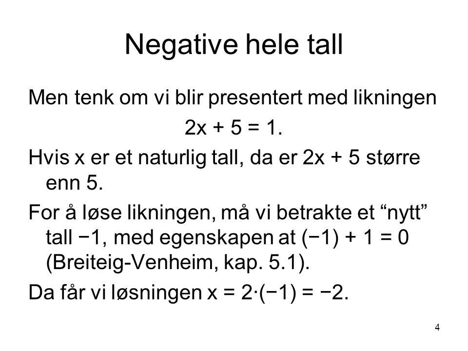 Negative hele tall Men tenk om vi blir presentert med likningen