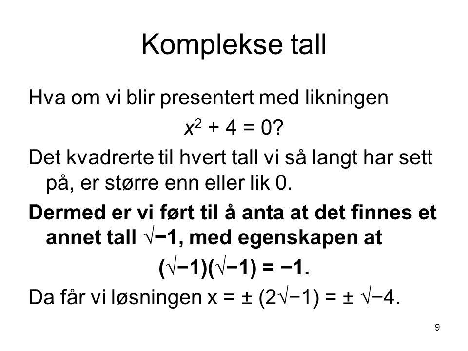 Komplekse tall Hva om vi blir presentert med likningen x2 + 4 = 0