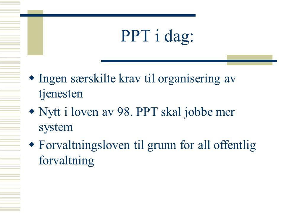 PPT i dag: Ingen særskilte krav til organisering av tjenesten