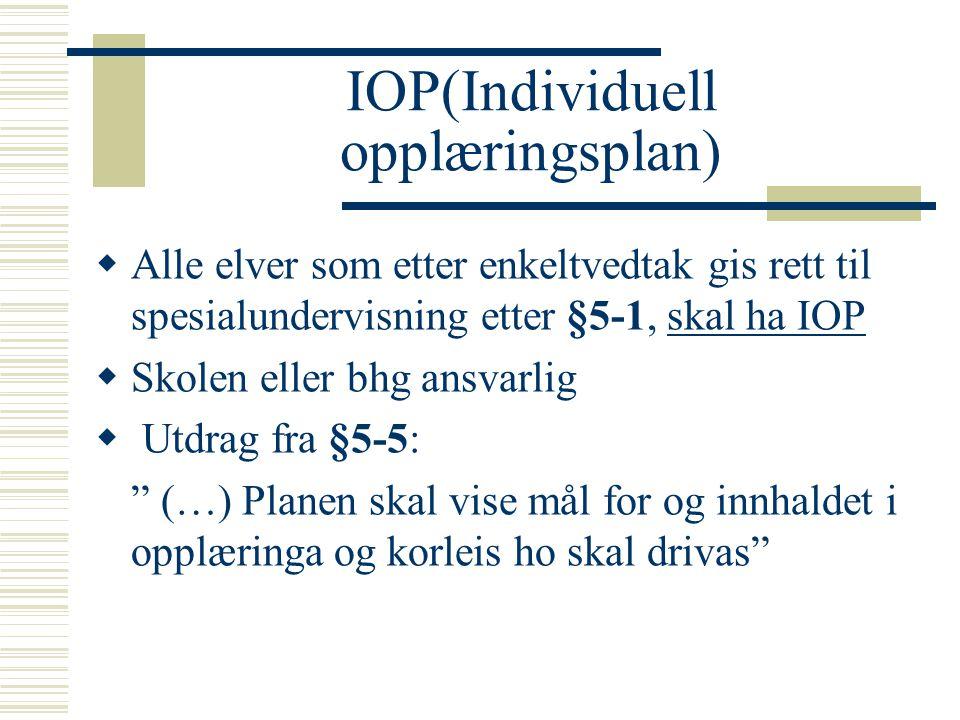IOP(Individuell opplæringsplan)