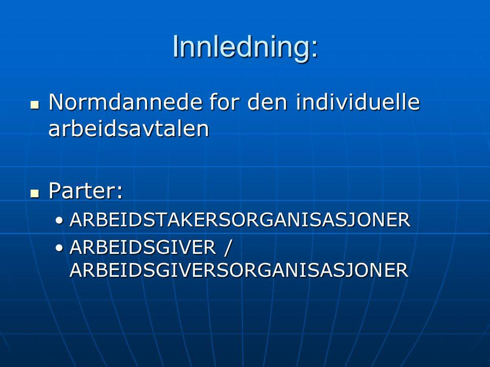 Innledning: Normdannede for den individuelle arbeidsavtalen Parter: