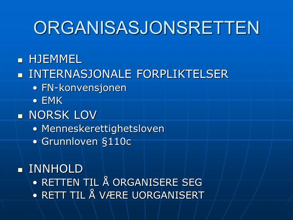 ORGANISASJONSRETTEN HJEMMEL INTERNASJONALE FORPLIKTELSER NORSK LOV