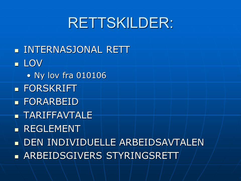 RETTSKILDER: INTERNASJONAL RETT LOV FORSKRIFT FORARBEID TARIFFAVTALE