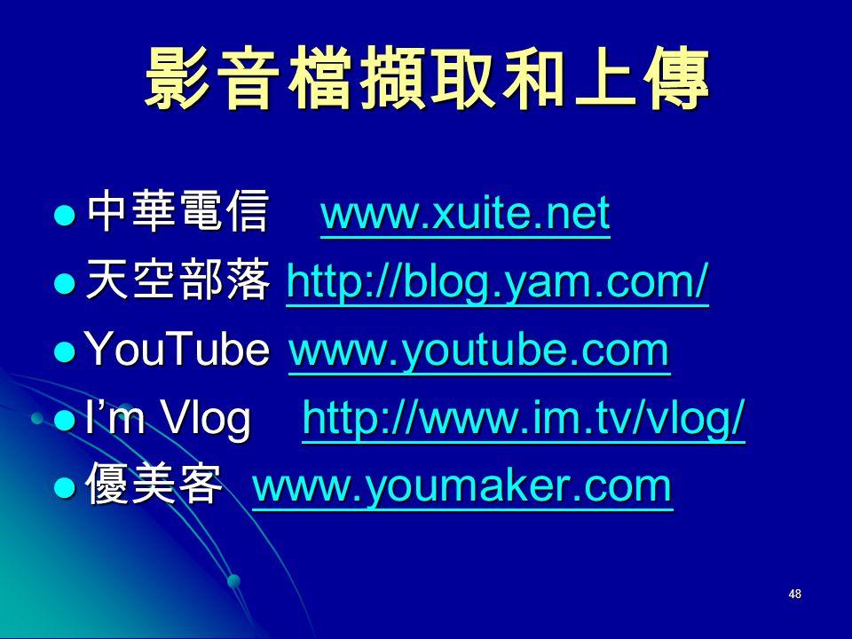 影音檔擷取和上傳 中華電信 www.xuite.net 天空部落 http://blog.yam.com/