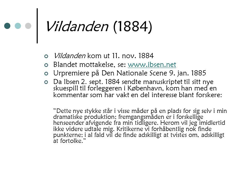 Vildanden (1884) Vildanden kom ut 11. nov. 1884