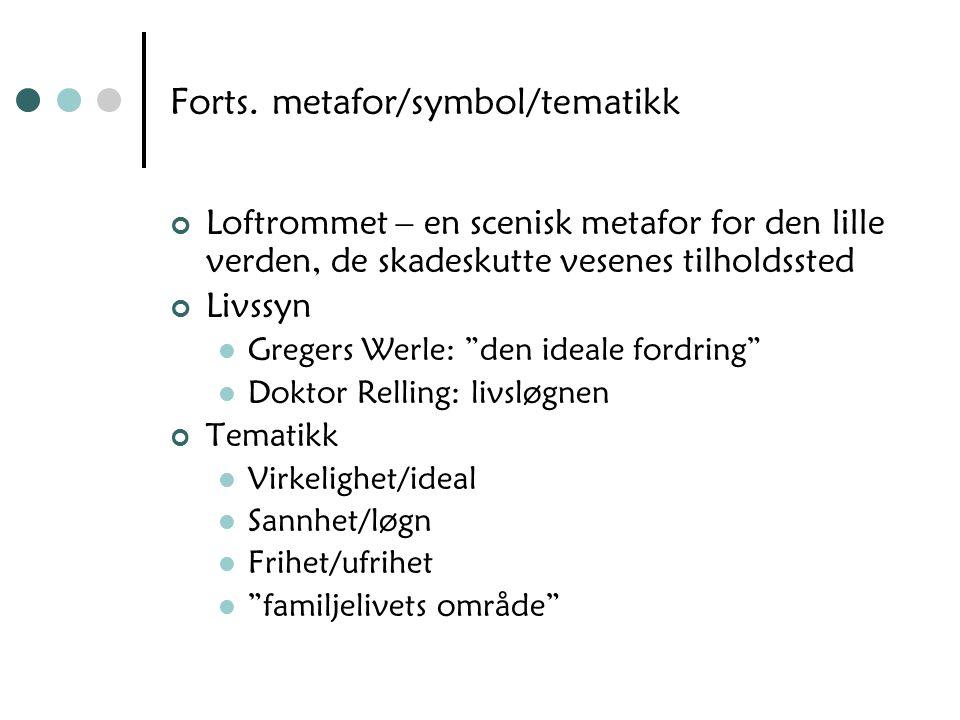 Forts. metafor/symbol/tematikk