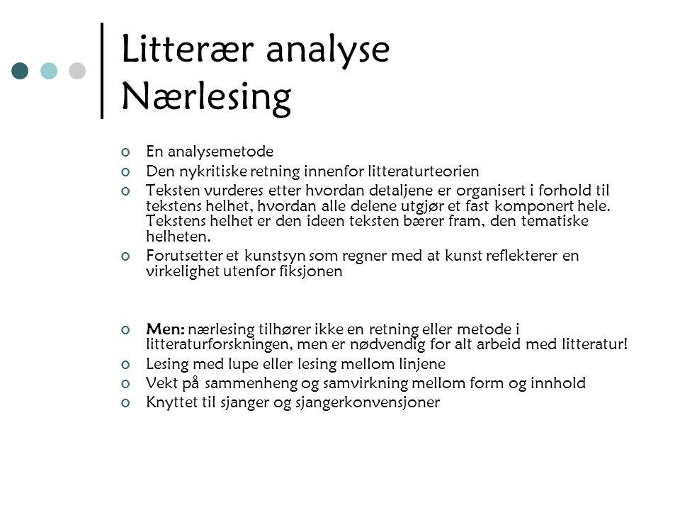 Litterær analyse Nærlesing