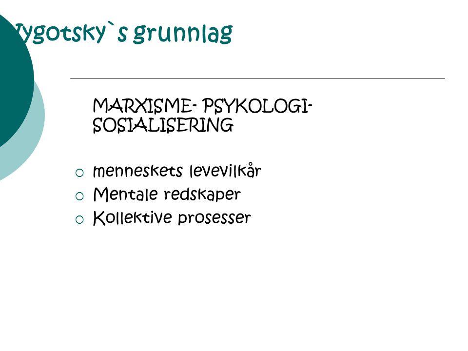 Vygotsky`s grunnlag MARXISME- PSYKOLOGI- SOSIALISERING
