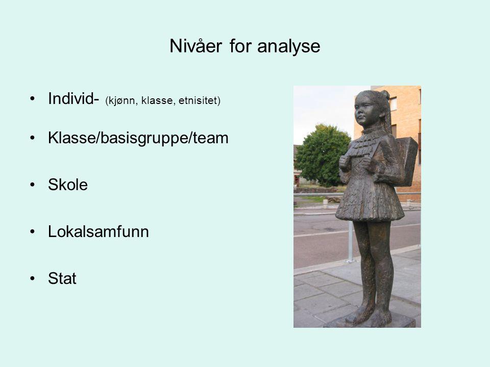 Nivåer for analyse Individ- (kjønn, klasse, etnisitet)