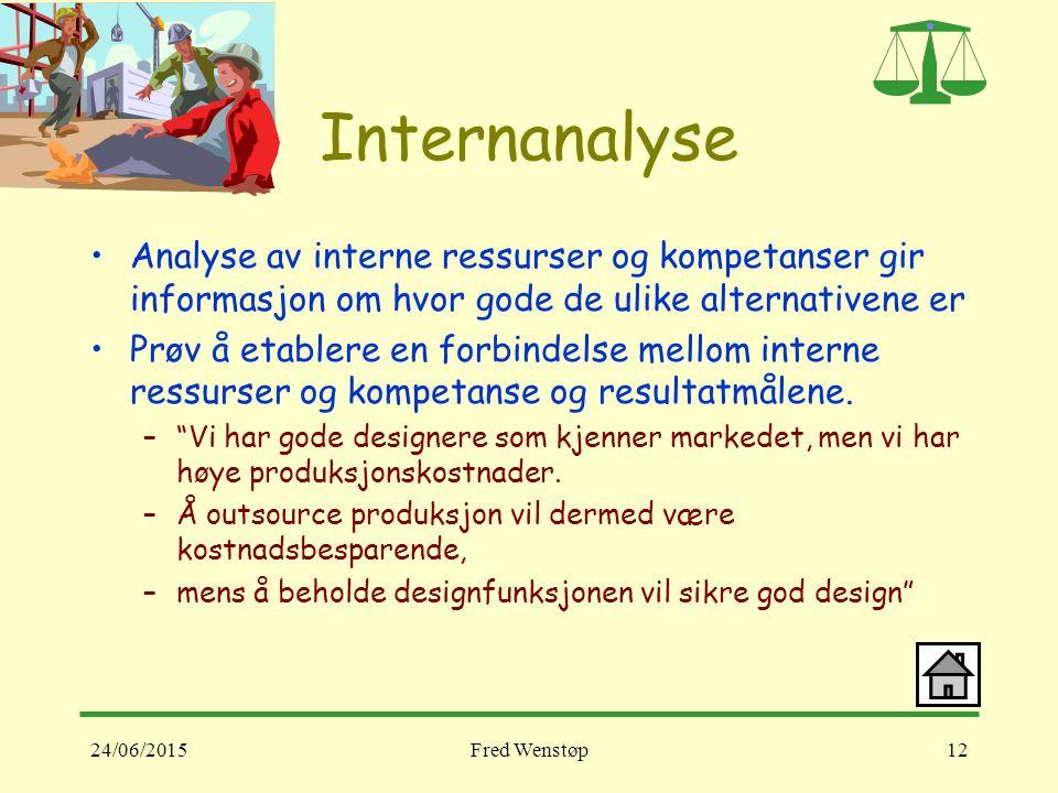 Internanalyse Analyse av interne ressurser og kompetanser gir informasjon om hvor gode de ulike alternativene er.