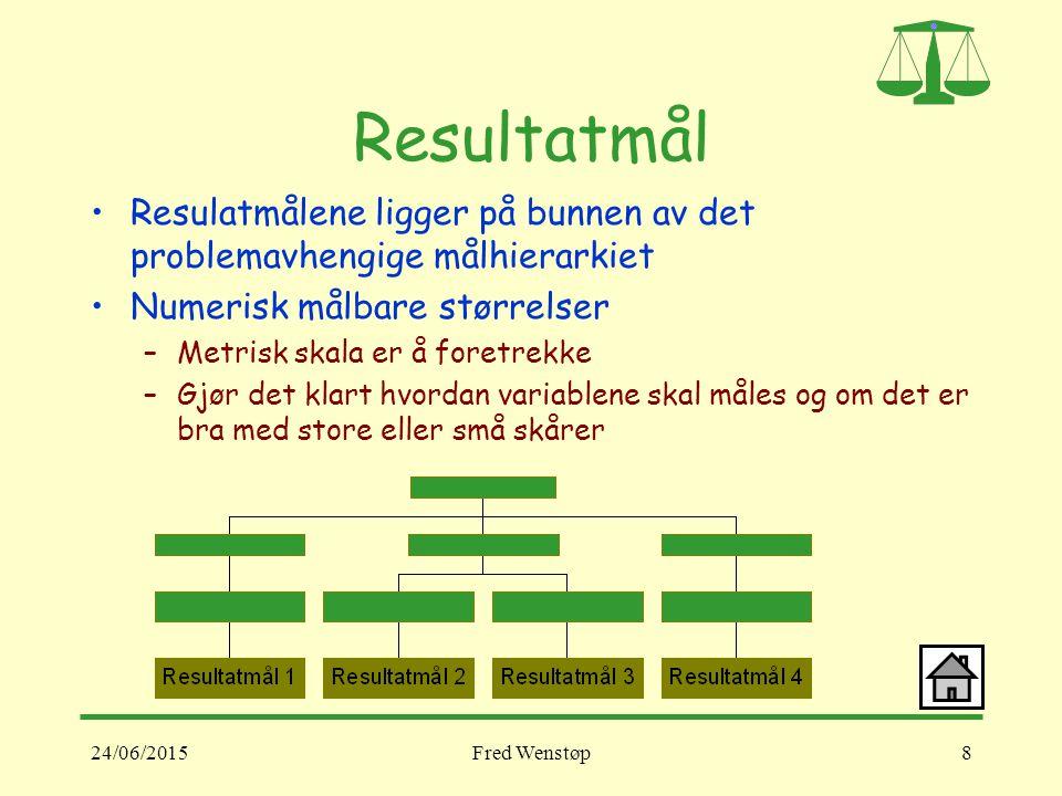 Resultatmål Resulatmålene ligger på bunnen av det problemavhengige målhierarkiet. Numerisk målbare størrelser.