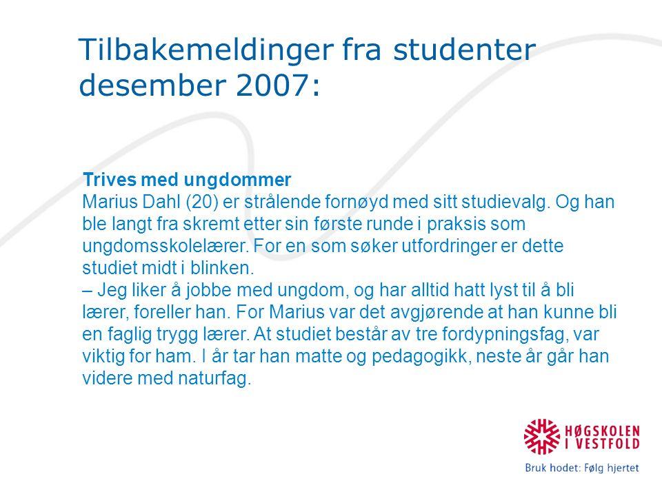 Tilbakemeldinger fra studenter desember 2007: