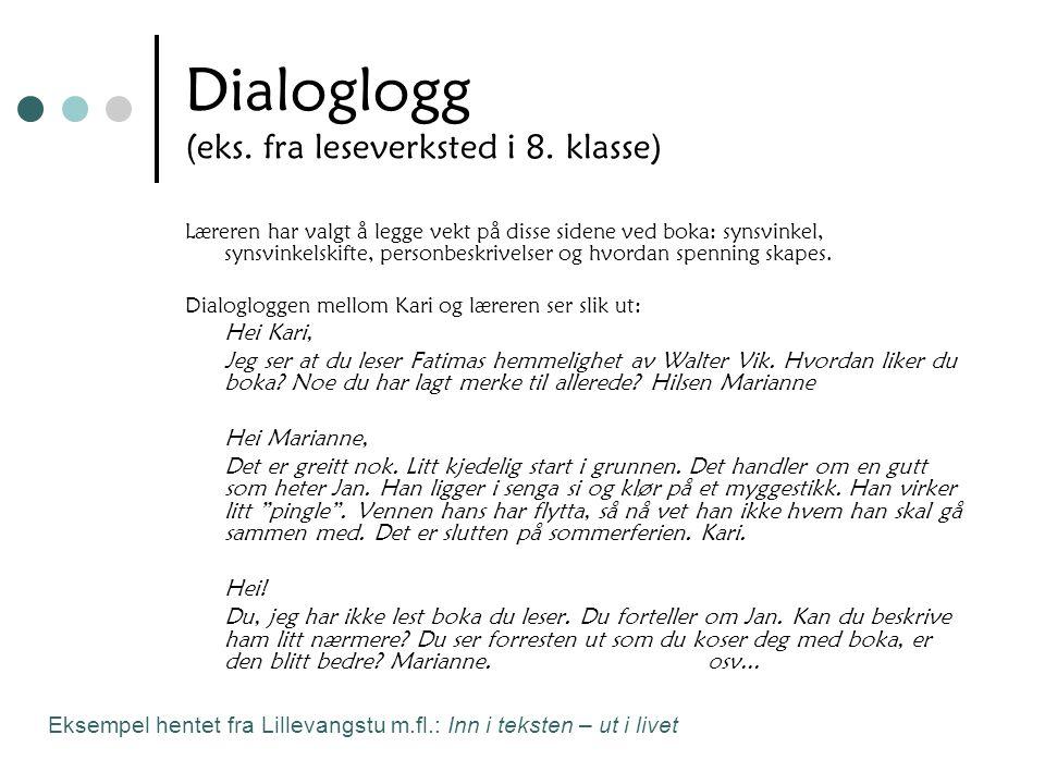 Dialoglogg (eks. fra leseverksted i 8. klasse)