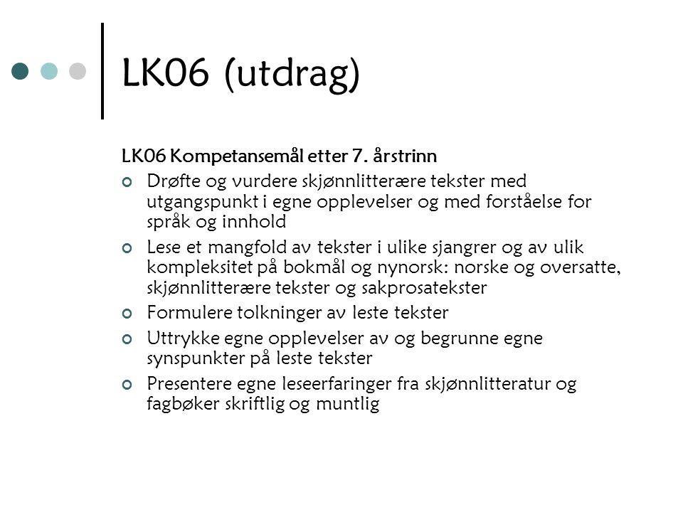 LK06 (utdrag) LK06 Kompetansemål etter 7. årstrinn