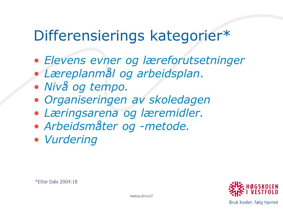 Differensierings kategorier*