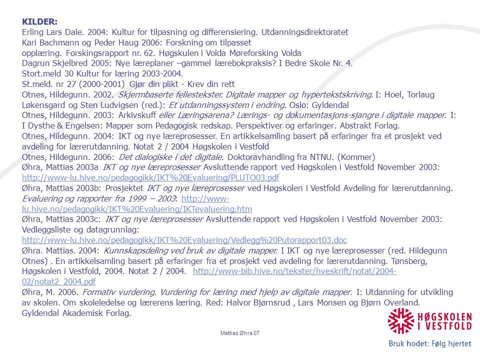 Kari Bachmann og Peder Haug 2006: Forskning om tilpasset