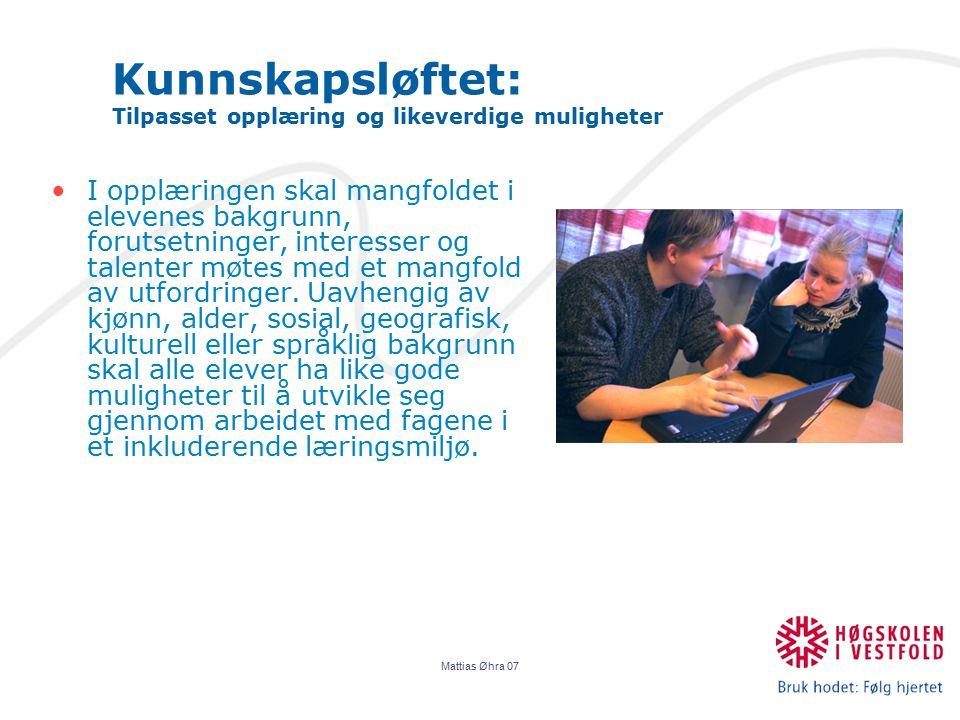 Kunnskapsløftet: Tilpasset opplæring og likeverdige muligheter