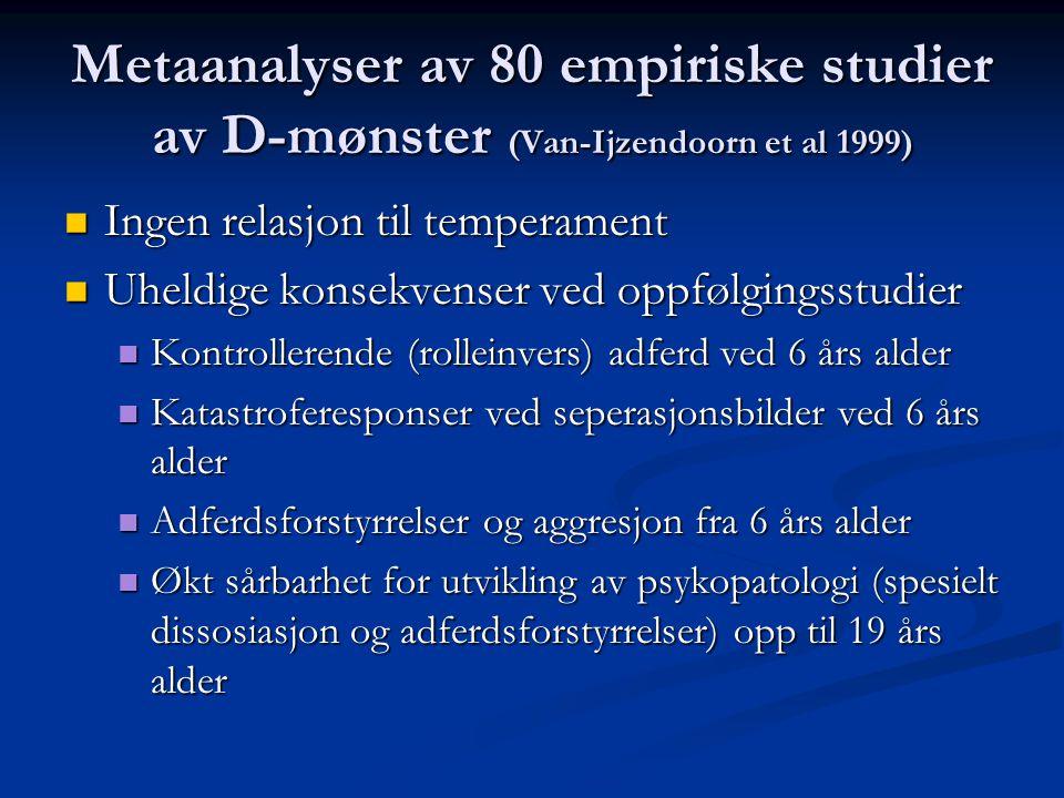 Metaanalyser av 80 empiriske studier av D-mønster (Van-Ijzendoorn et al 1999)