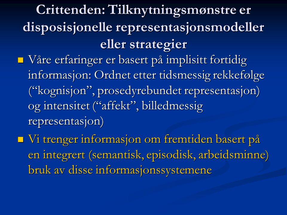 Crittenden: Tilknytningsmønstre er disposisjonelle representasjonsmodeller eller strategier