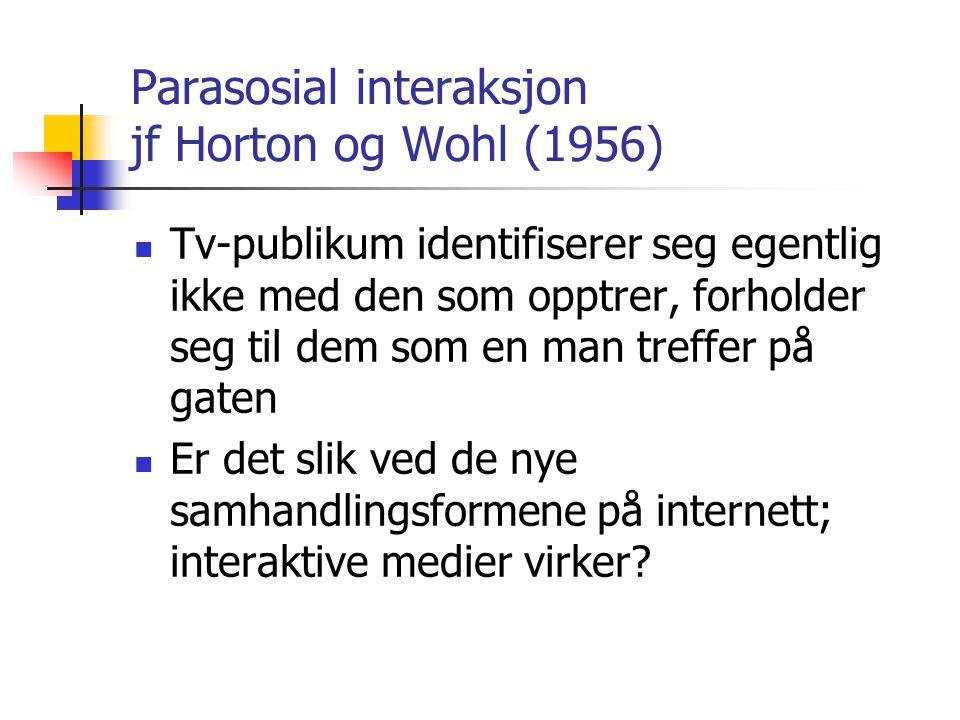 Parasosial interaksjon jf Horton og Wohl (1956)