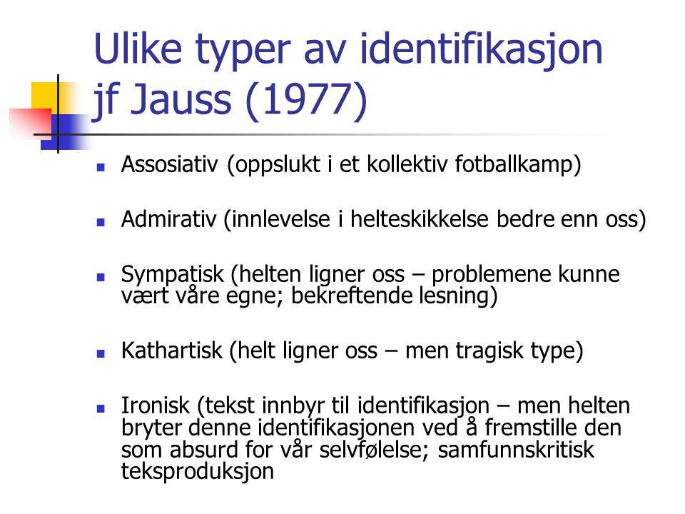 Ulike typer av identifikasjon jf Jauss (1977)