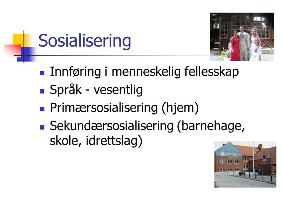 Sosialisering Innføring i menneskelig fellesskap Språk - vesentlig