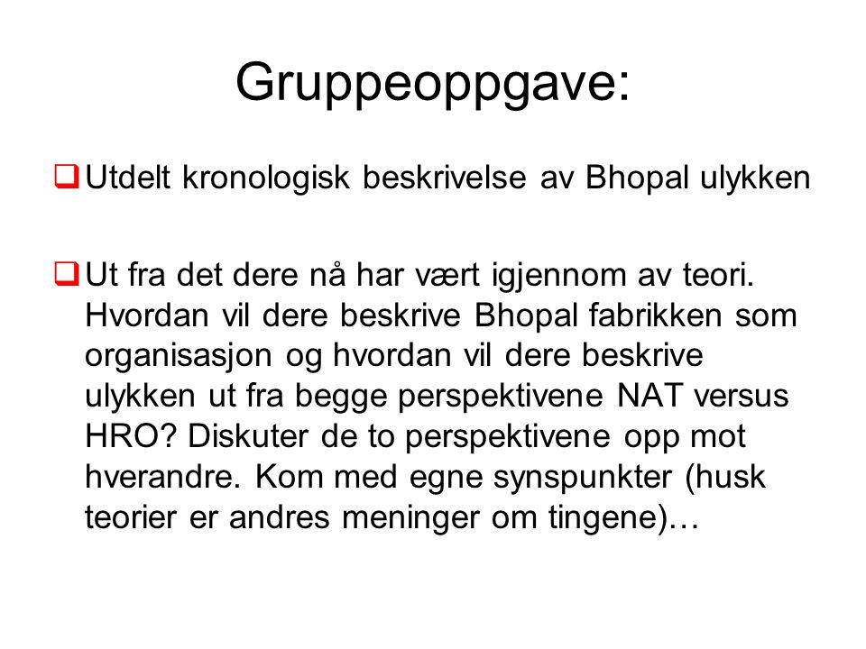 Gruppeoppgave: Utdelt kronologisk beskrivelse av Bhopal ulykken